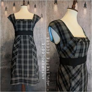 Anthropologie - Moulinette Soeurs Gray Plaid Dress